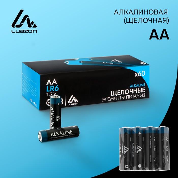 Батарейка Алкалиновая  Luazon, АА, LR6, спайка, 4 шт.