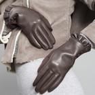 Перчатки женские, безразмерные, без подклада, цвет коричневый