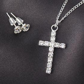"""Гарнитур 2 предмета: серьги, кулон """"Крестик"""", цвет белый в серебре, 43см"""