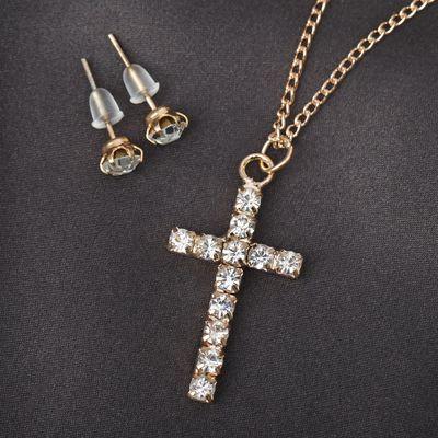"""Headsets 2 items: earrings, pendant """"Cross"""" white gold 43cm"""