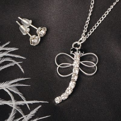 """Headsets 2 items: earrings, pendant """"Dragonfly"""", white in silver"""