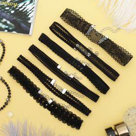 """Чокер """"Ассорти"""" ажур, (набор 6 шт), цвет чёрный , длина 30,5см"""