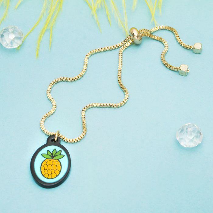 """Браслет ассорти """"Мини"""" ананас, цвет жёлто-голубой в золоте"""