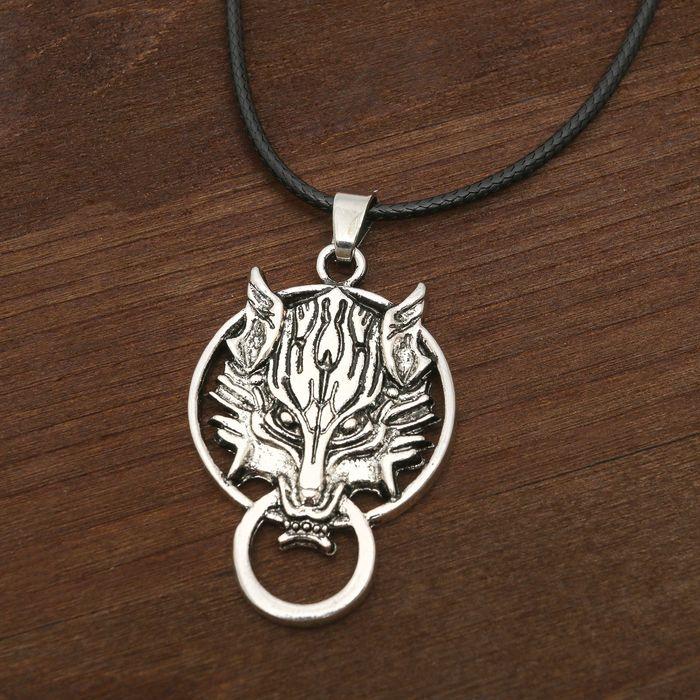 """Кулон мужской """"Волк"""" защитник, цвет чернёное серебро, 40 см"""