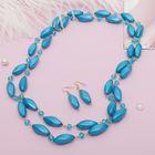 """Набор 2 предмета: серьги, бусы """"Яркий день"""" эллипс, цвет голубой в золоте, 140см"""