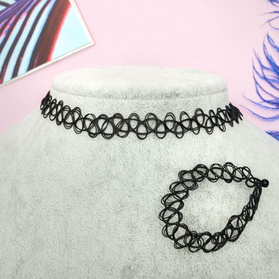 "Set of 2 pieces: a choker, bracelet ""Classic"" black"