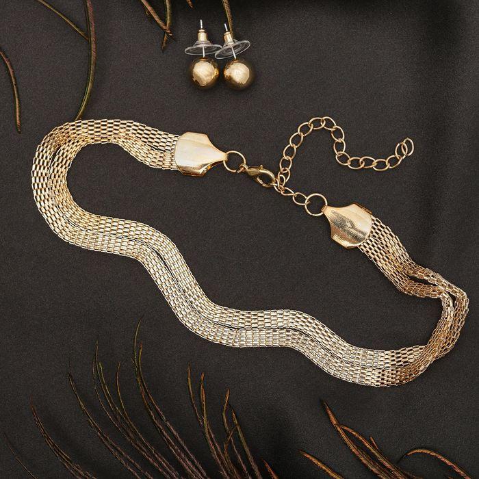 """Набор 2 предмета: серьги, чокер """"Триумф"""" плетение, цвет золото"""