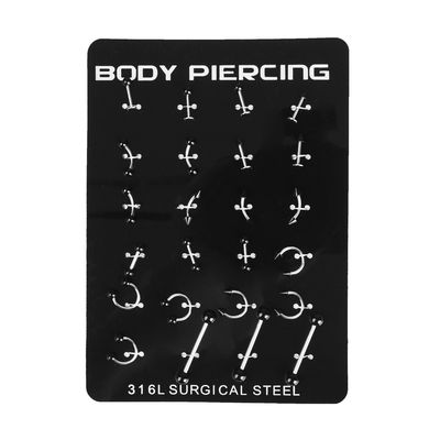 "Body piercing kit ""Hardcore"", 6, color black silver"