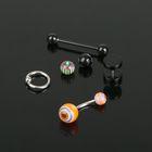Пирсинг набор в ухо, бровь, язык, пупок, со съемной бусиной, d=5мм, цвет микс в серебре