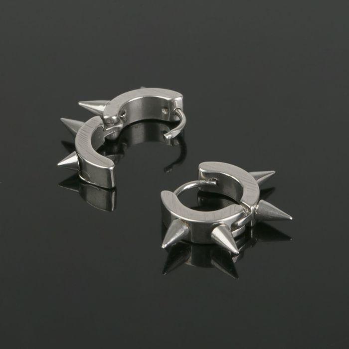 """Пирсинг в ухо """"Колючки"""" (1 пара), цвет серебро"""