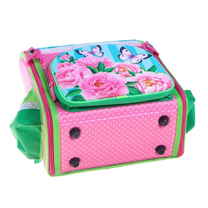 Ранец 35x26x16 см, EVA-спика, разборный, 2 отделения 3 кармана, «Цветы» - фото 369756120
