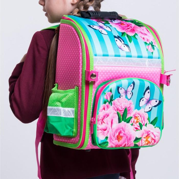 Ранец 35x26x16 см, EVA-спика, разборный, 2 отделения 3 кармана, «Цветы» - фото 369756121