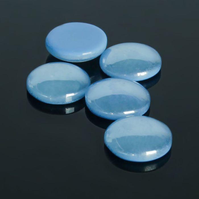 Кабошон стекло, круг 12мм (набор 5шт), цвет голубой