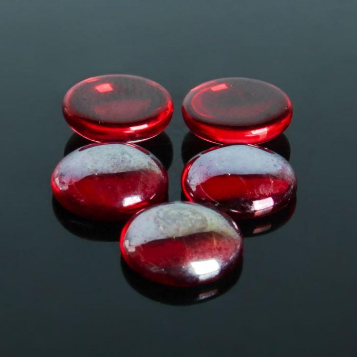 Кабошон стекло, круг 12мм (набор 5шт), цвет красный