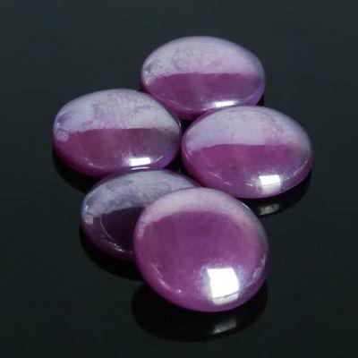 Кабошон стекло, круг 12мм (набор 5шт), цвет фиолетовый