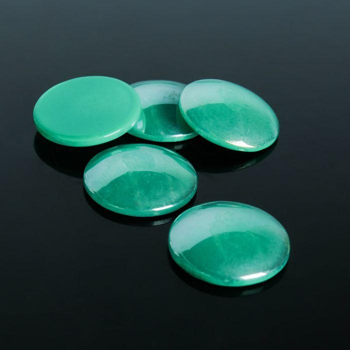Кабошон стекло, круг 18мм (набор 5шт), цвет изумрудный
