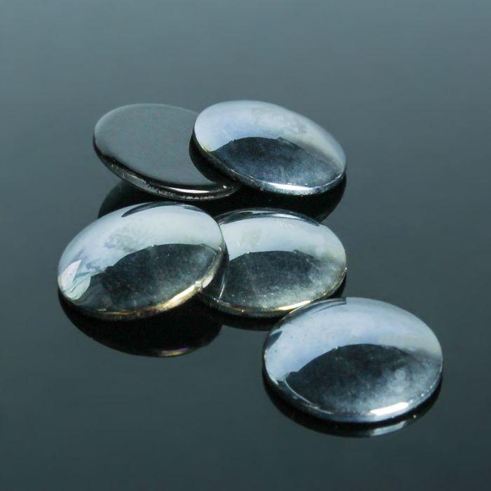 Кабошон стекло, круг 18мм (набор 5шт), цвет черный