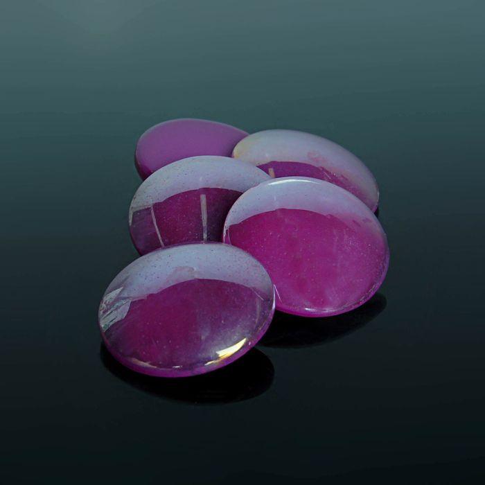 Кабошон стекло, круг 18мм (набор 5шт), цвет фиолетовый
