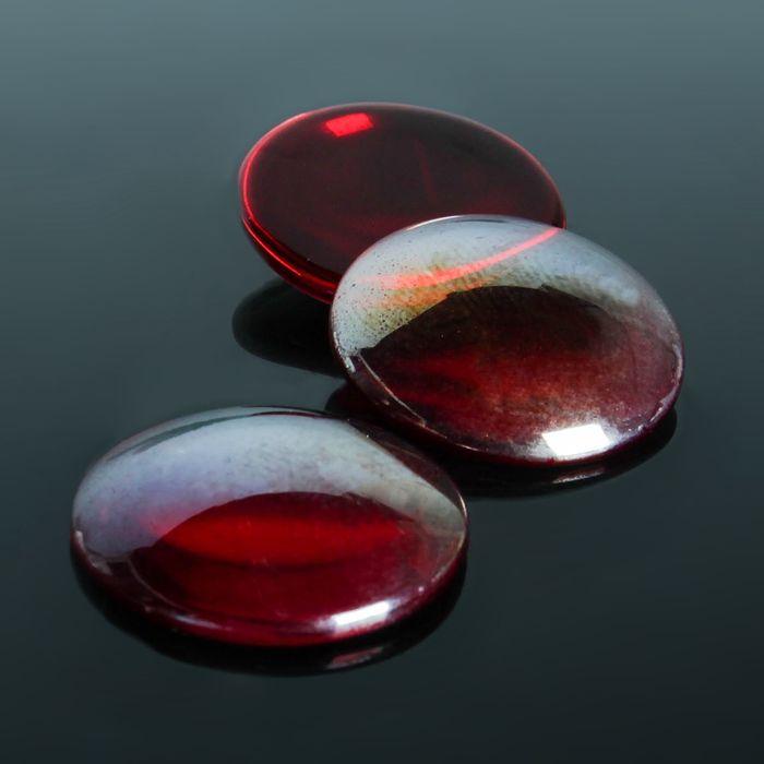 Кабошон стекло, круг 25мм (набор 3шт), цвет красный