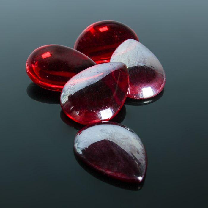 Кабошон стекло, капля 18*25мм (набор 5шт), цвет красный