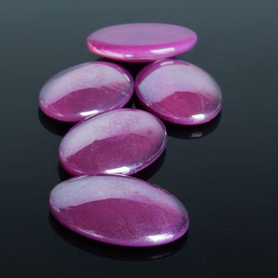 Кабошон стекло, овал 18*25мм (набор 5шт), цвет фиолетовый