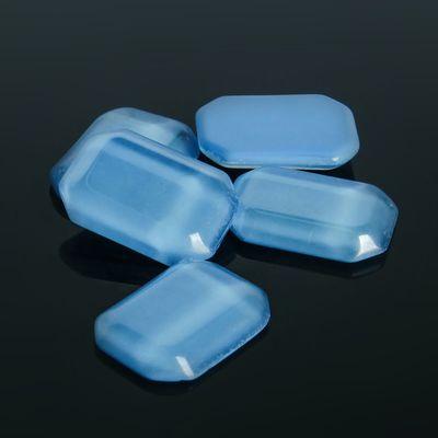 Кабошон стекло, прямоугольник 13*18мм (набор 5шт), цвет голубой