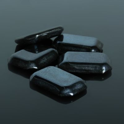 Кабошон стекло, прямоугольник 13*18мм (набор 5шт), цвет черный