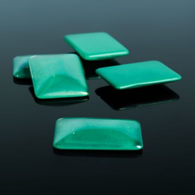 Кабошон стекло, прямоугольник 18*25мм (набор 5шт), цвет изумрудный