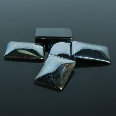 Кабошон стекло, прямоугольник 18*25мм (набор 5шт), цвет черный