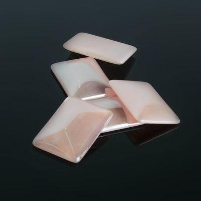 Кабошон стекло, прямоугольник 18*25мм (набор 5шт), цвет розовый