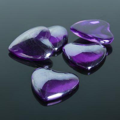 Кабошон стекло, сердце 18*18мм (набор 5шт), цвет фиолетовый