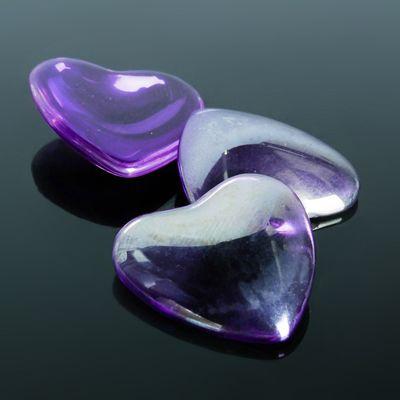 Кабошон стекло, сердце 25*25мм (набор 3шт), цвет фиолетовый