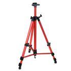 Мольберт телескопический, тренога, металлический, красный