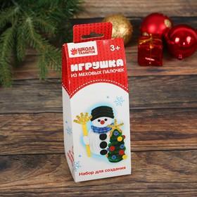 """Новогодняя мягкая игрушка из меховых палочек """"Снеговик и ёлочка"""""""