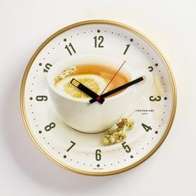 """Часы настенные круглые """"Чай с лимоном"""", золотистый обод, 30х30 см  микс"""