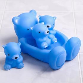 Набор резиновых игрушек с пищалкой для игры в ванной «Мишки»: мыльница, игрушки 3 шт, цвет МИКС, 15 см.