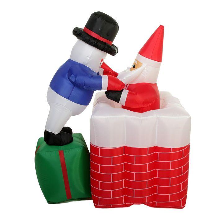 """Надувная фигура """"Снеговик достаёт Деда Мороза из трубы"""" 100*140 см"""