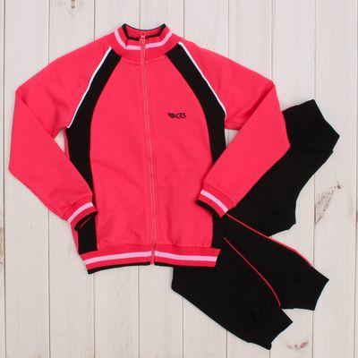 Костюм спортивный для девочки (куртка, брюки), рост 158 см, цвет арбузный CAJ 9655
