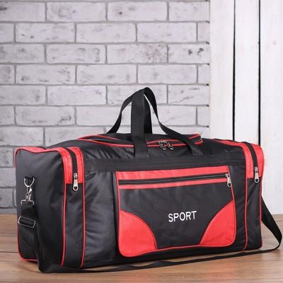 Сумка спорт Sport, 60*25*28, отд на молнии, 3 н/кармана, длин ремень, черный/красный