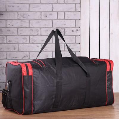 Сумка спортивная, отдел на молнии, 4 наружных кармана, длинный ремень, цвет чёрный/красный