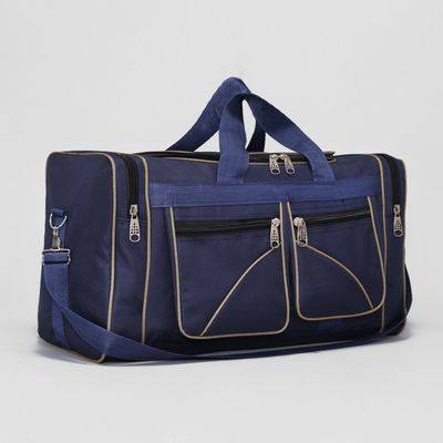 Сумка дорожная на молнии, 1 отдел, 4 наружных кармана, длинный ремень, цвет синий