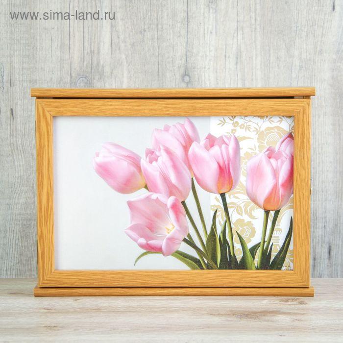 """Ключница """"Тюльпаны""""  вишня 24х34 см"""