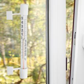 Plastic window thermometer Velcro with cardboard scale, in carton (-50 +50),