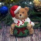 """Сувенир керамика """"Мишка в шарфике и колпаке с мешком подарков"""" 8х7,5х6,5 см"""