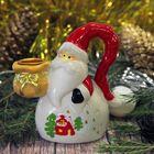 "Сувенир керамика подсвечник ""Дед Мороз в длинном красном колпаке"" 10х8,5х4,6 см"