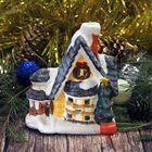 """Сувенир керамика подсвечник """"Новогодний домик с серой крышей"""" 11х9,5х5,8 см"""