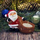 "Сувенир керамика со свечой ""Дед Мороз с мешком"" 6,5х8,5х4,5 см"