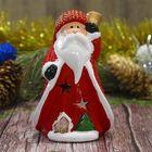 "Сувенир керамика подсвечник ""Дед Мороз с колокольчиком"" 12,5х8х6,7 см"