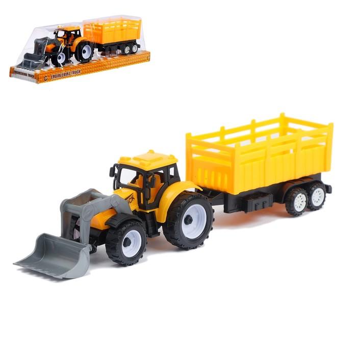 Трактор инерционный «Погрузчик», с прицепом, МИКС