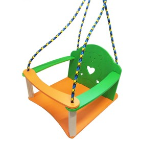 """Качели детские подвесные """"Мишутка"""", из дерева, крашеные, размер сидения: 26 × 27 × 9 см"""
